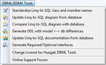 Click to view Huagati DBML/EDMX Tools 2.31 screenshot