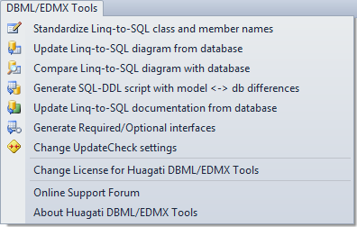 Huagati DBML/EDMX Tools adds a new menu to Visual Studio's menu bar