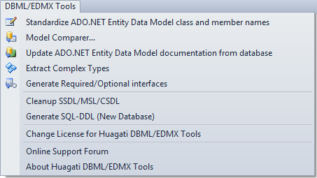 Huagati EDMX Tools adds a DBML/EDMX Tools dropdown menu to Visual Studio's menu bar